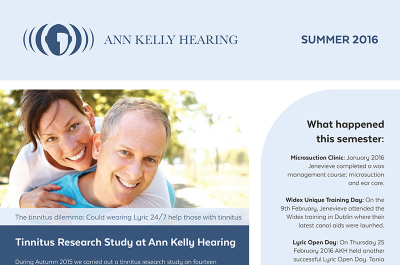 Ann Kelly Hearing Summer Newsletter - find out more about our Tinnitus research
